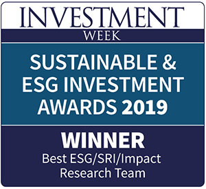 Label of Sustainable & ESG investment awards 2019 for best ESG/SRI/Impact Researcg Team