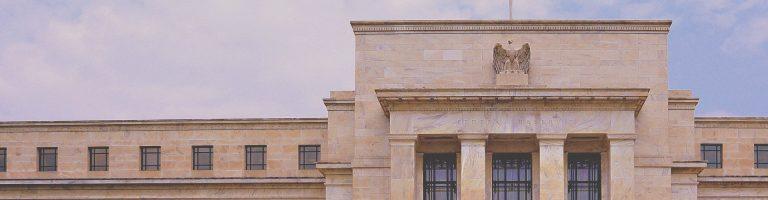 US federal reserve building banner