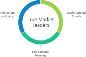 Pie chart of true market leaders