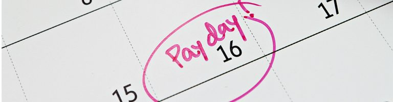 Calendar page with 16th marked as a pay day