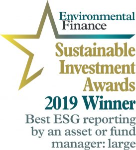 2019 winner ESG reporting by an asset or fund Sustainable Investemnt awards
