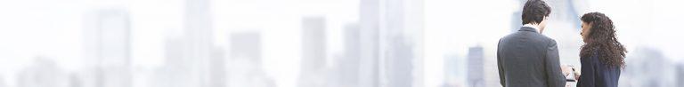 People view London panorama banner man women white background