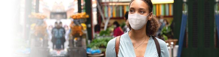 Masked lady doing some shopping