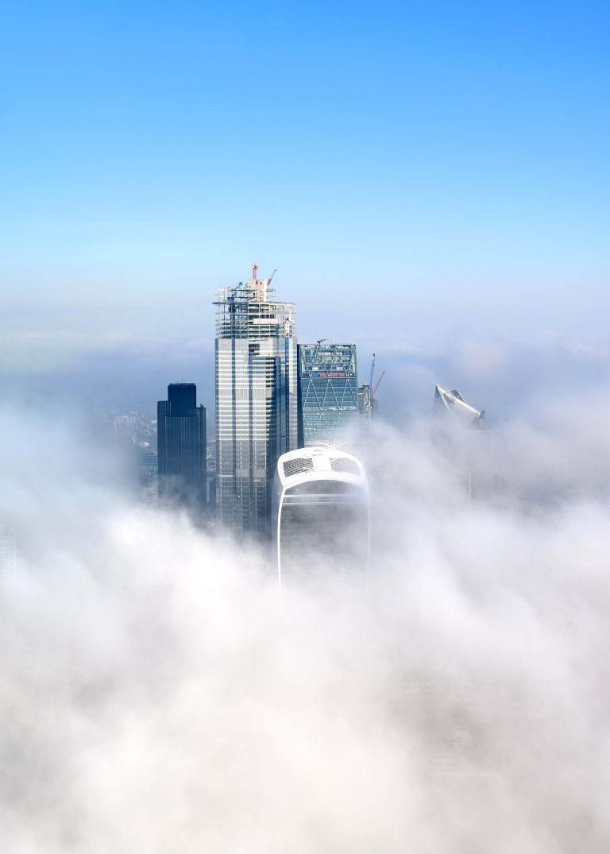 Skyscrapers in clouds