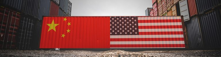 Container with Chinese and American flags