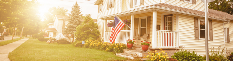 Typical american house with the state flag displayed