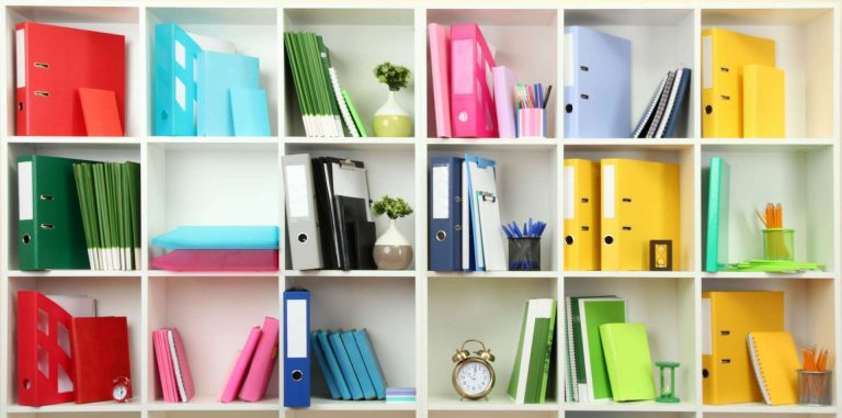 White office shelves with colorful stationery
