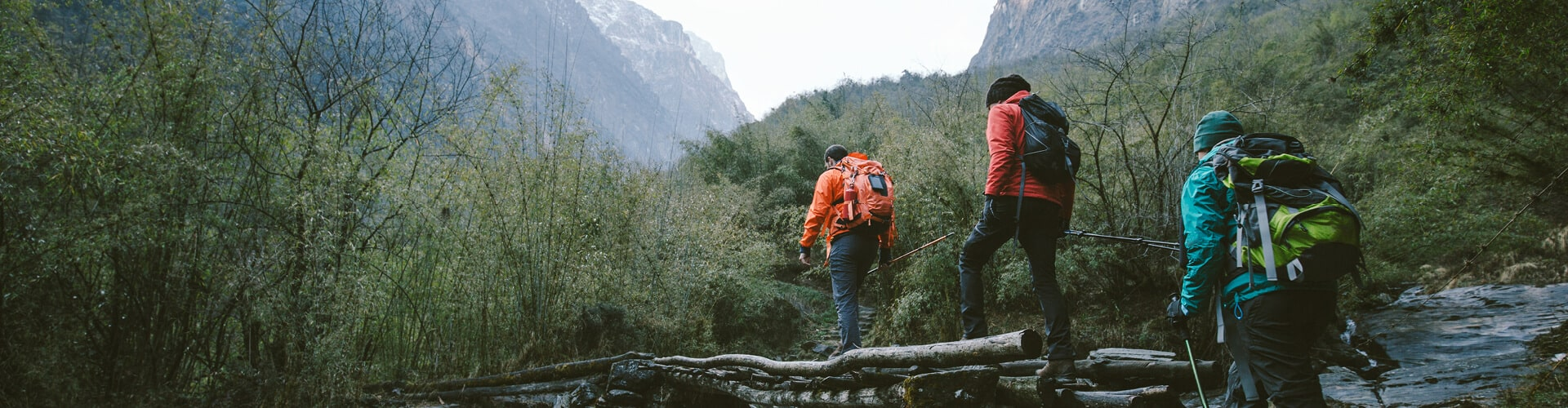 Hikers exploring mountains