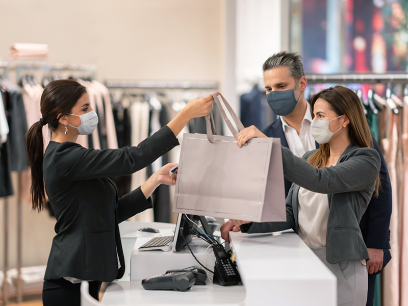 People shopping in masks
